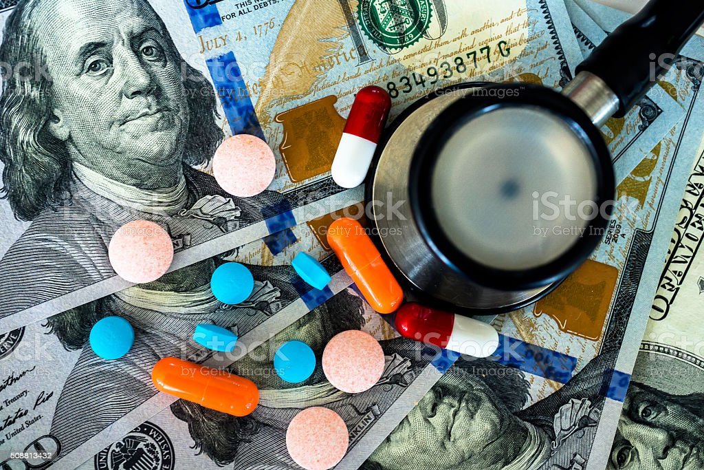 Medicine, Tablets and Money stock photo
