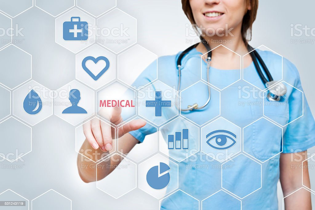 Medicine touch screen concept (Click for more) stock photo