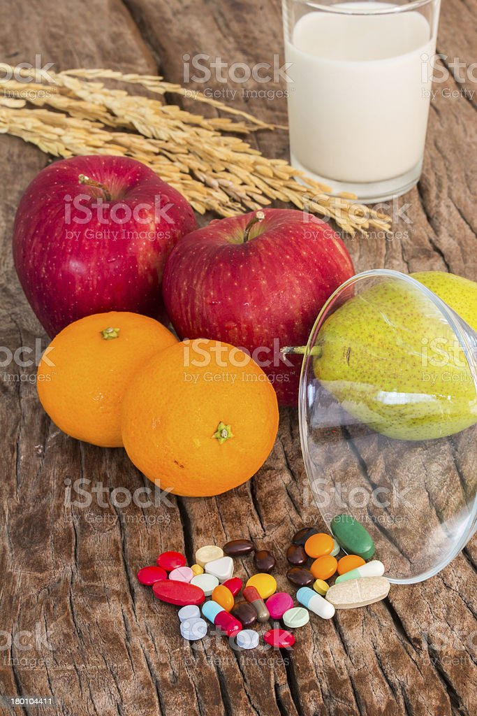 medicines and fruits royalty-free stock photo