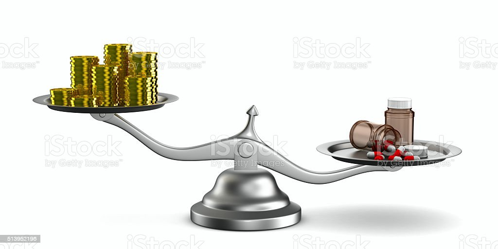 Medicines and money on scales. Isolated 3D image stock photo