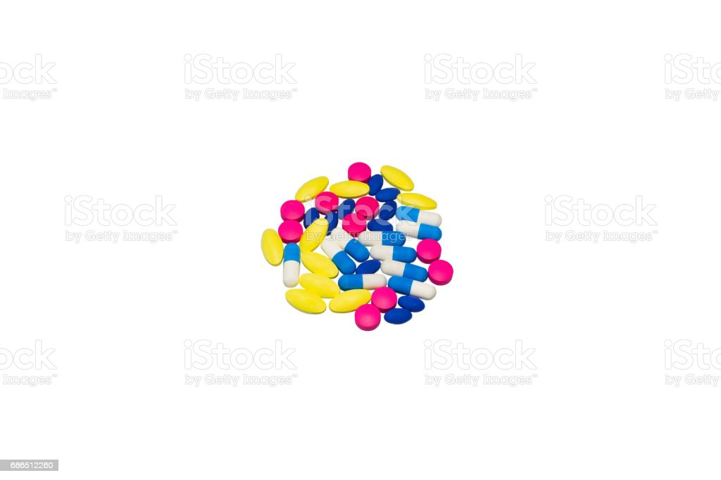 Medicines colorful on white background stock photo