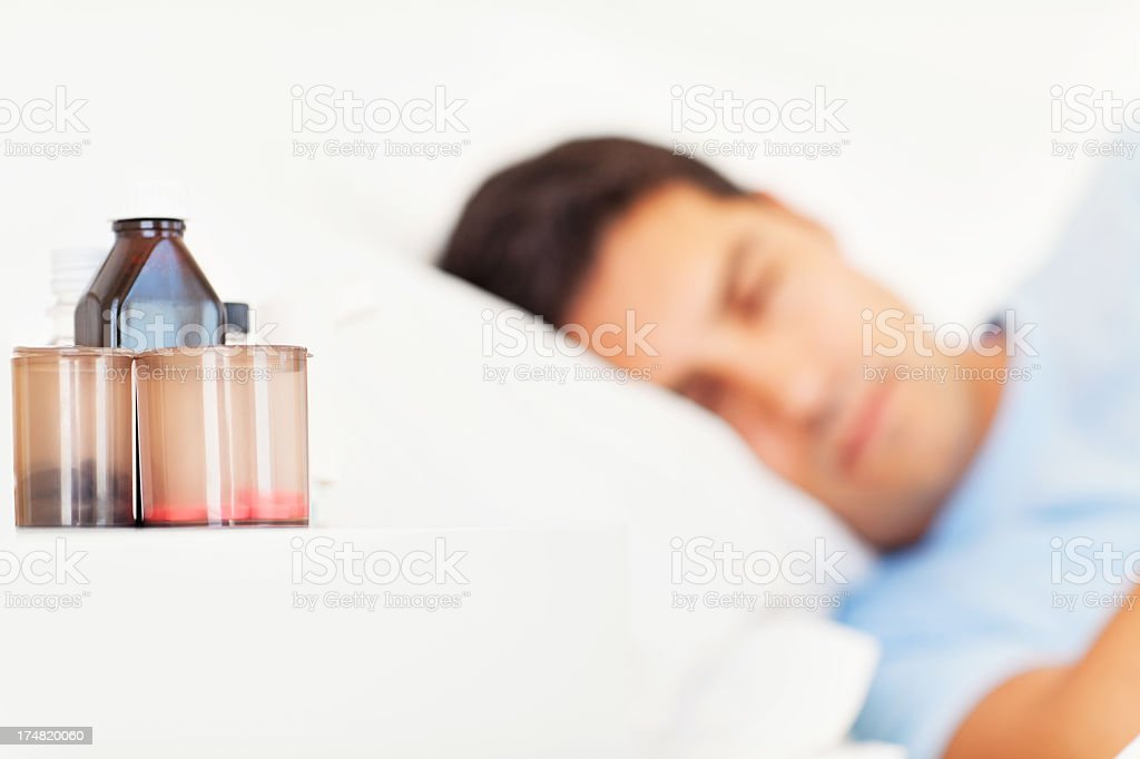 Medicines On Bedside Table royalty-free stock photo