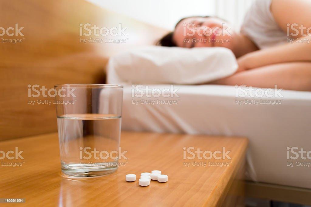 medicines on the nightstand stock photo