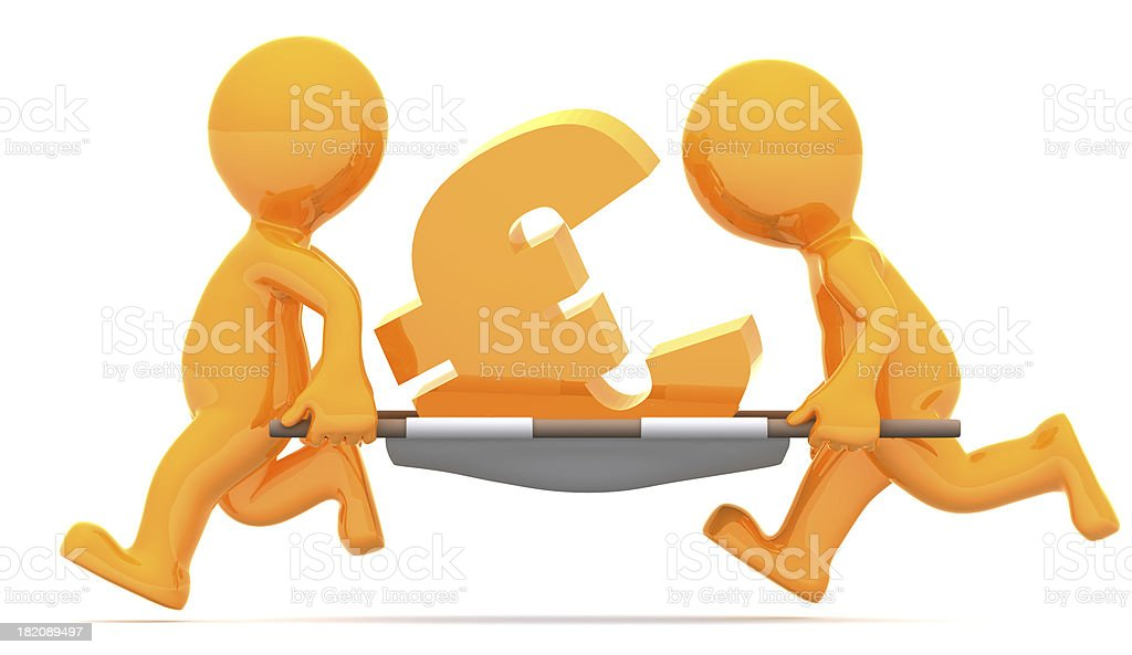 Medics carrying euro currency sign. Conceptual economic illustration. royalty-free stock photo