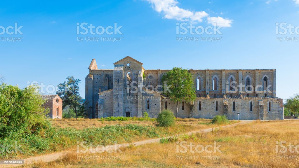 Medieval Abbey of San Galgano from 13th century, near Siena, Tuscany, Italy stock photo