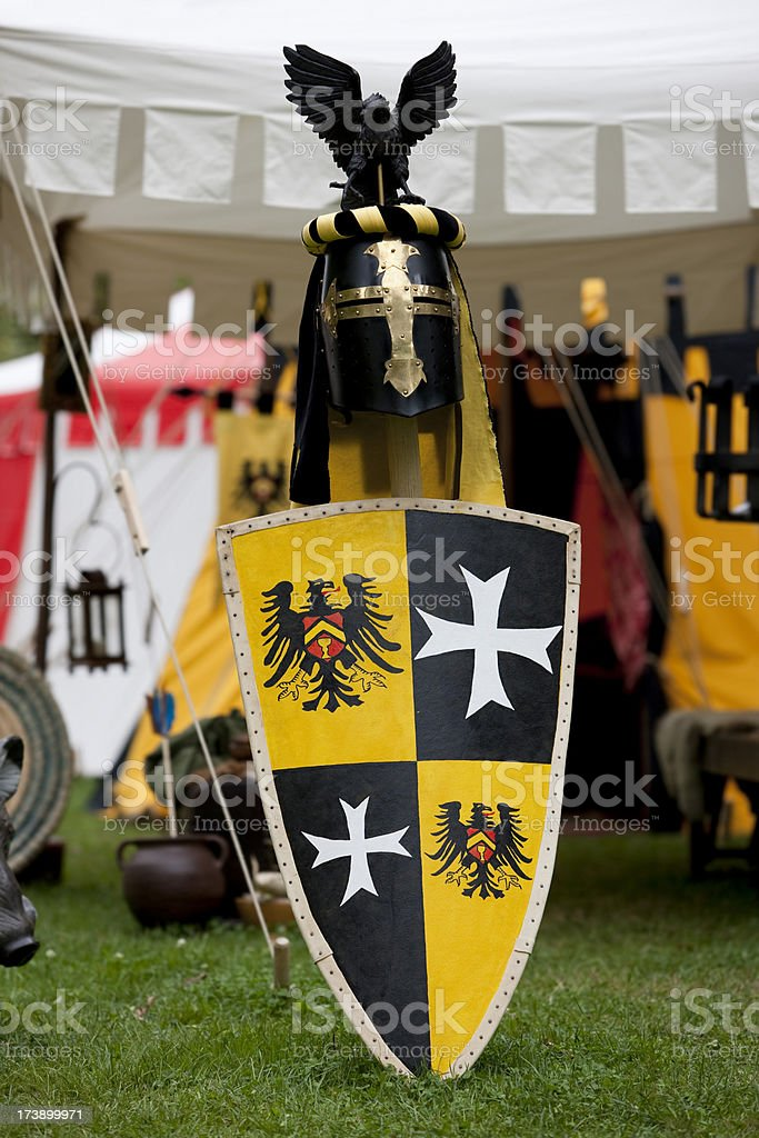Medieval accessories for a knight royalty-free stock photo