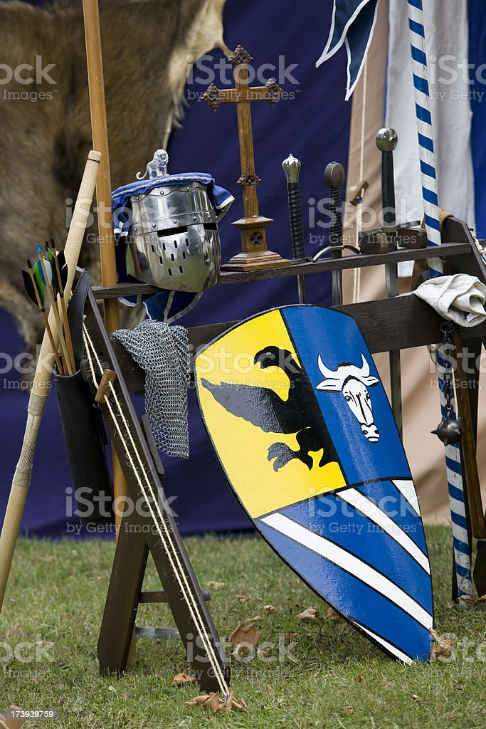 Medieval accessories for a knight stock photo