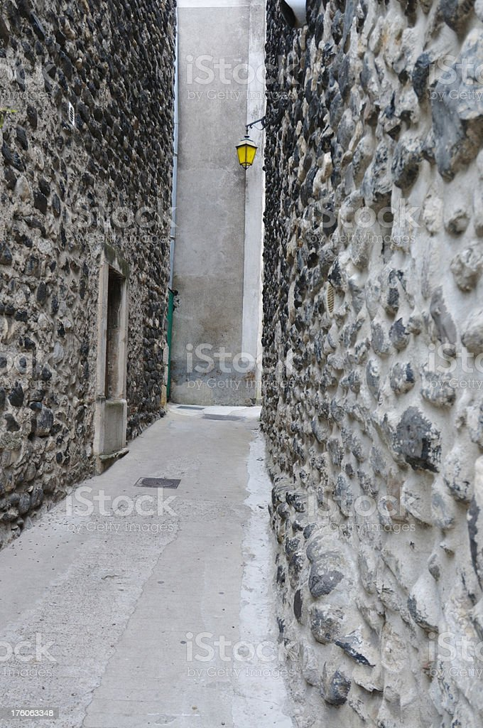 medieval alleyway, French village stock photo