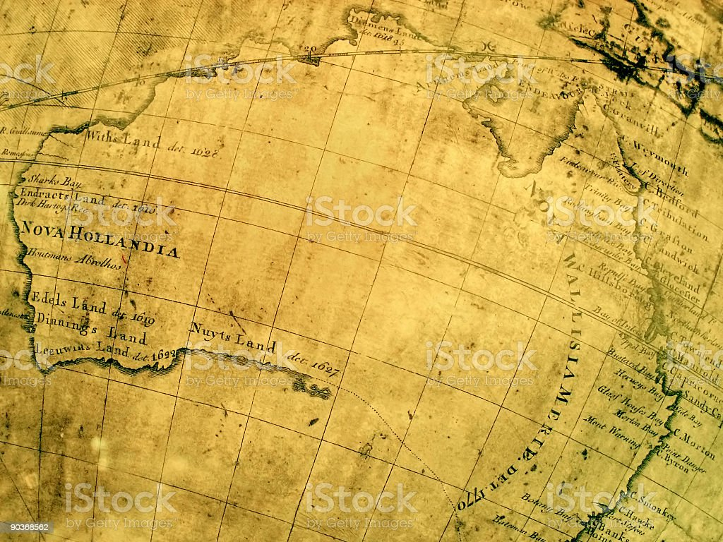 Medieval ancient old age aged map australia cartography studies royalty-free stock photo