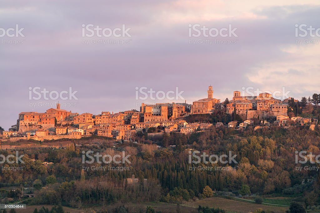 Medieval and Renaissance town Montepulciano, Tuscany, violet sunset stock photo