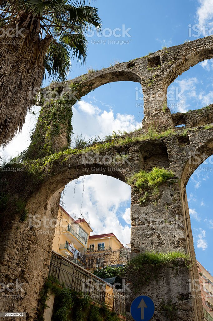 Medieval Aqueduct in Salerno, Campania Italy stock photo