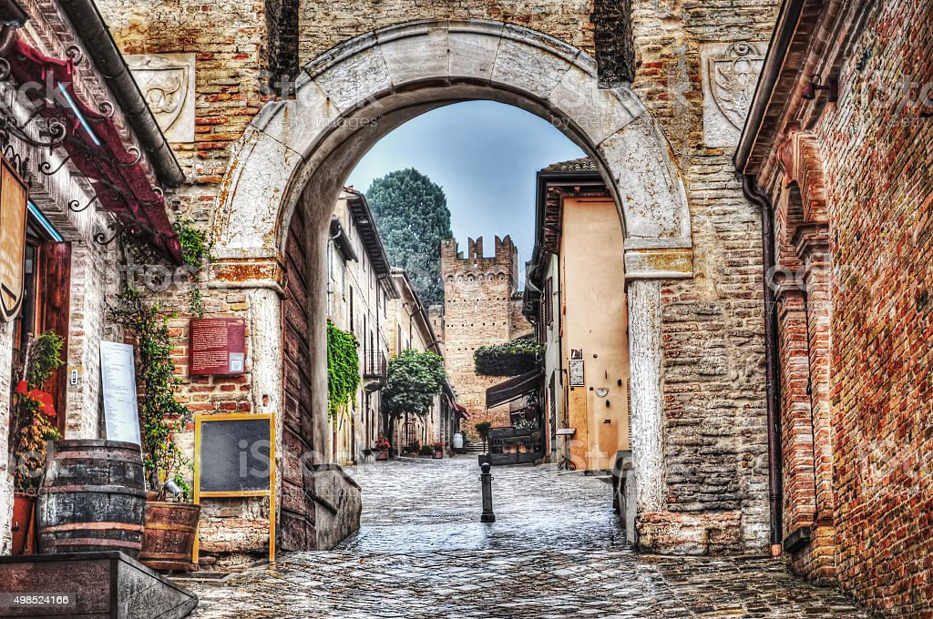 medieval arch in Gradara stock photo