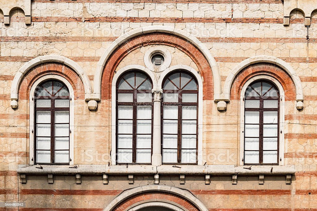 Medieval arched windows. stock photo