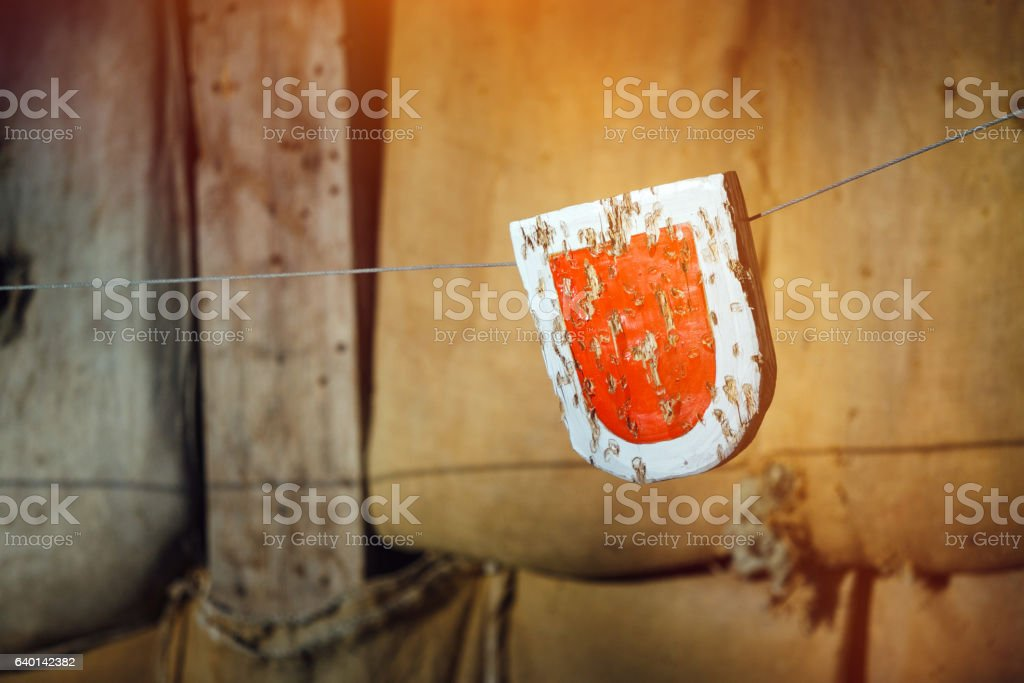 Medieval archery target stock photo