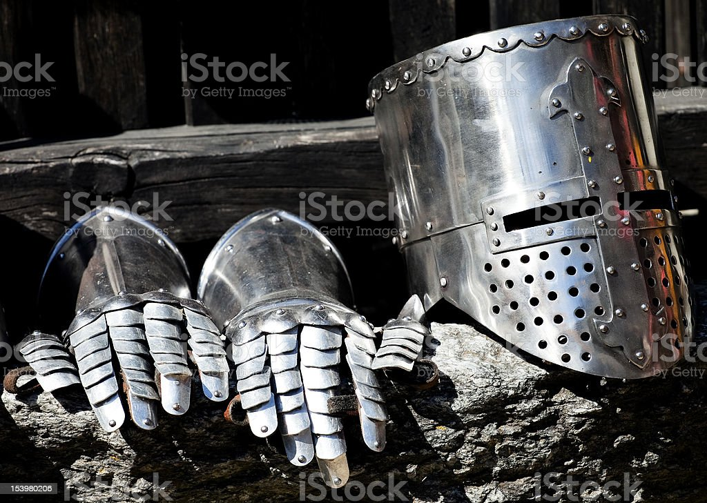 Medieval armour detail, helmet and gloves royalty-free stock photo