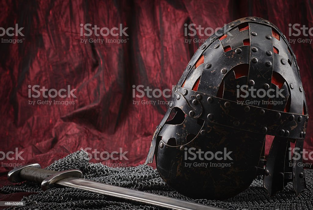 Medieval armour, helmet and sword stock photo