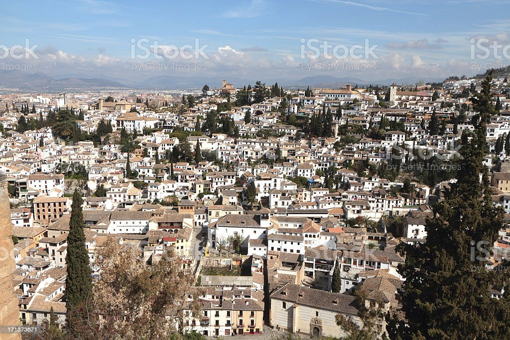 Medieval Barrio of  Albaicín from the Alhambra Palace, Granada, Spain royalty-free stock photo