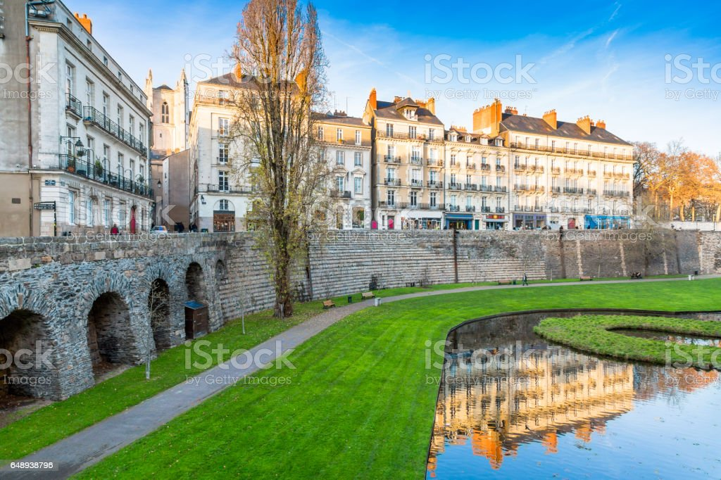 Medieval battlements in City of Nantes, France stock photo