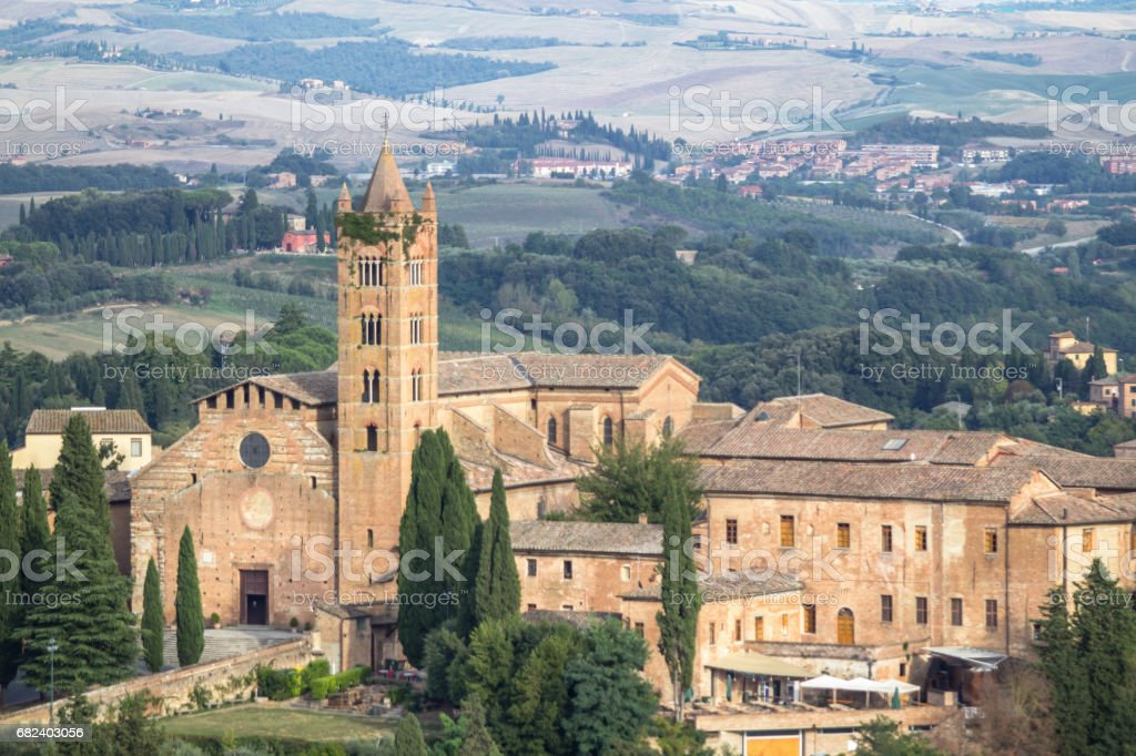Medieval beautiful church in Siena, Tuscany, Italy stock photo