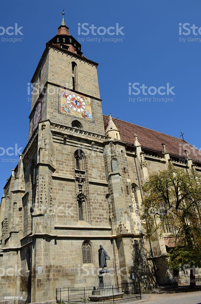 Medieval black church in Brasov, Transylvania, Romania stock photo