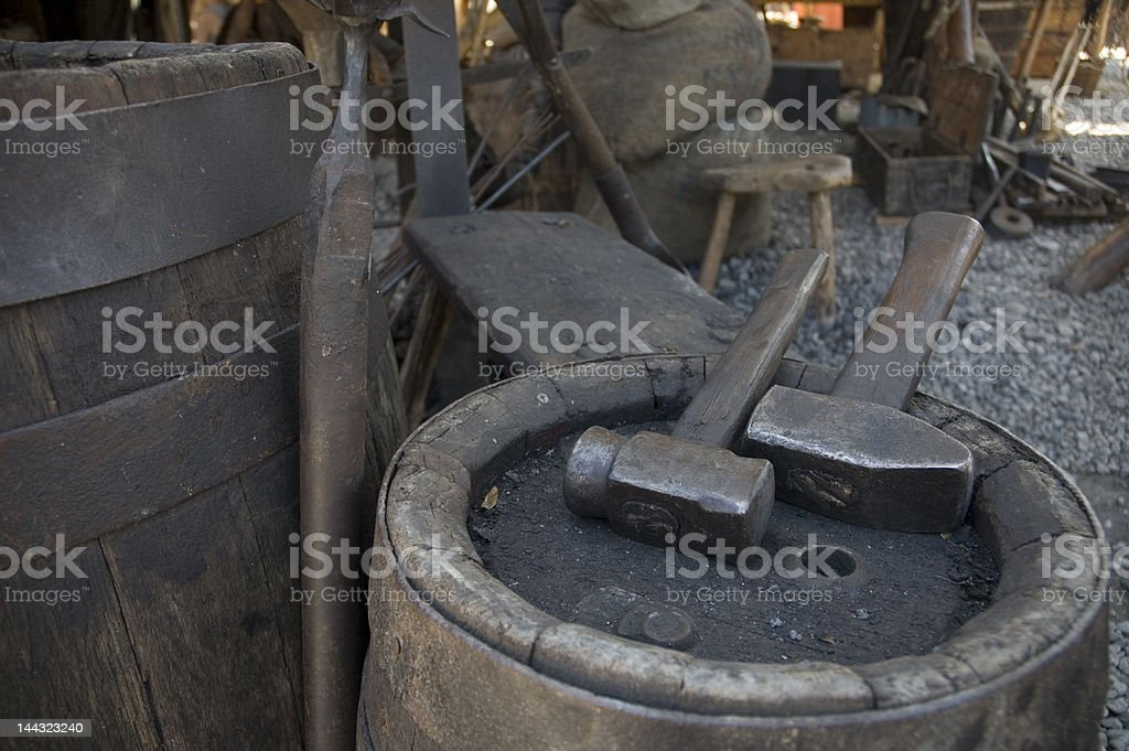 Medieval black smiths tools royalty-free stock photo