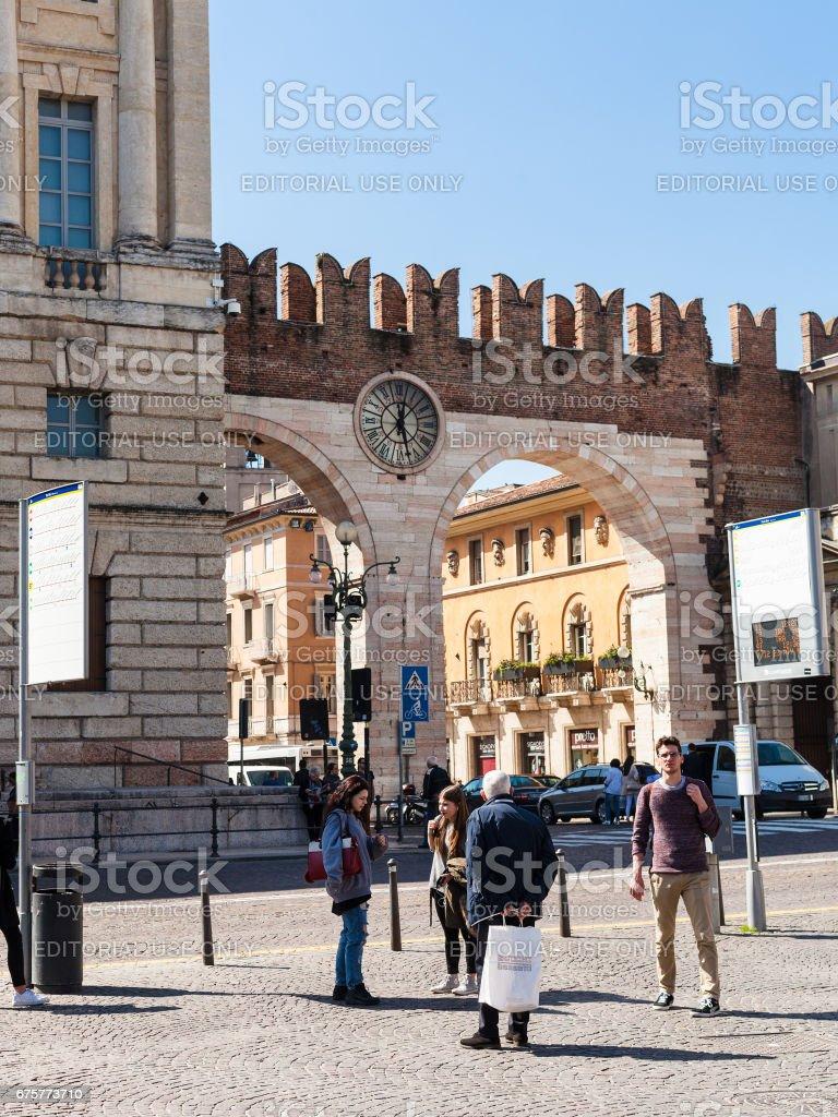 medieval Bra Gates (Portoni della Bra) on Piazza stock photo