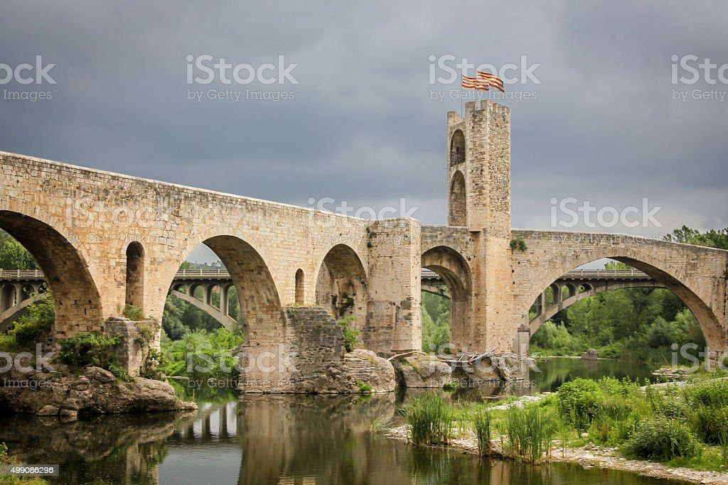 Medieval bridge in Catalonia, Spain stock photo