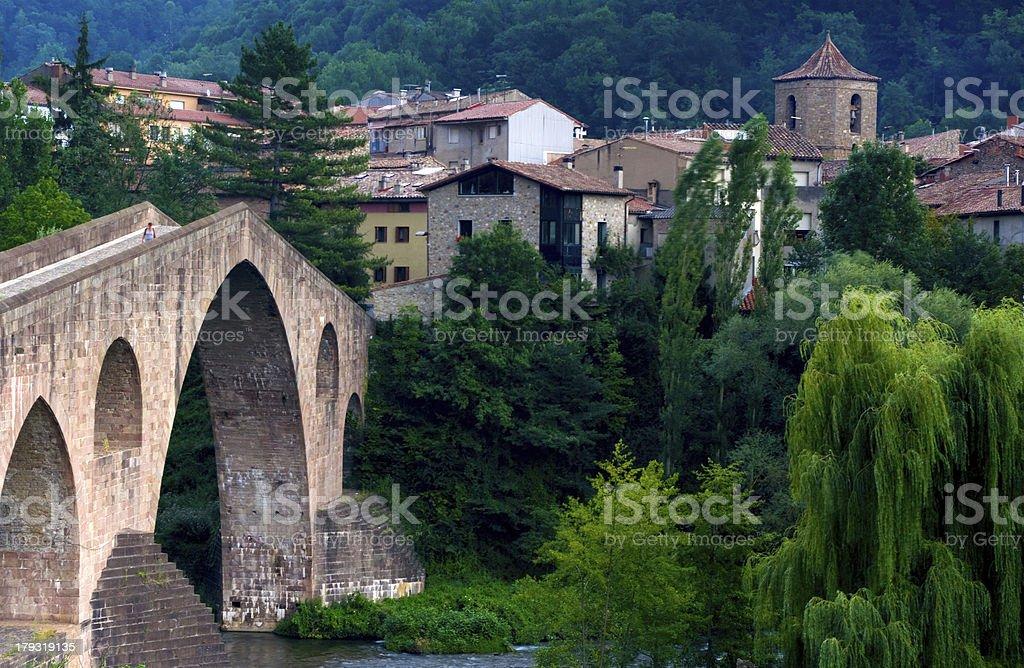 medieval bridge in Sant Joan de les Abadesses,Catalonia.Spain royalty-free stock photo