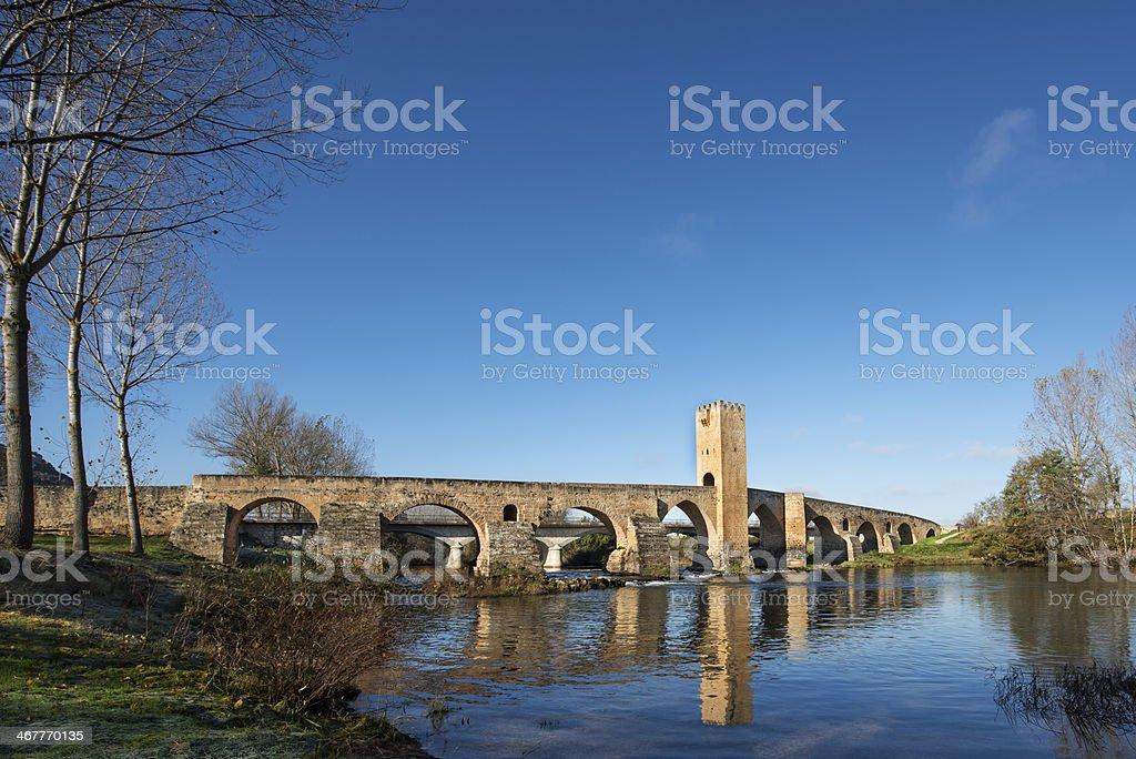 Medieval bridge of Frias, Burgos, Castilla, Spain. stock photo