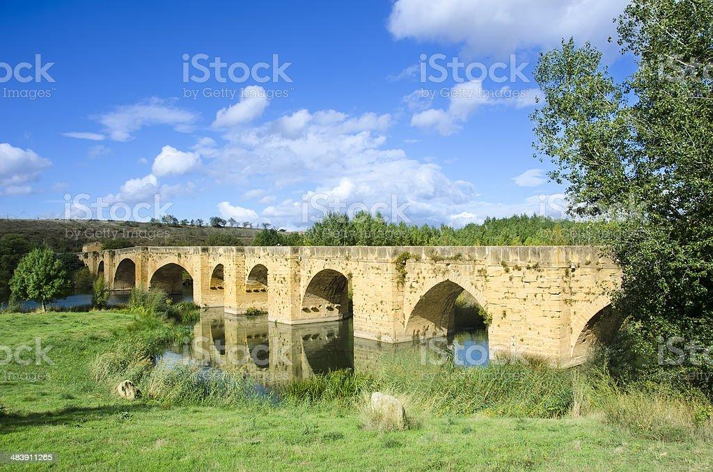 Medieval bridge of San Vicente de la Sonsierra royalty-free stock photo