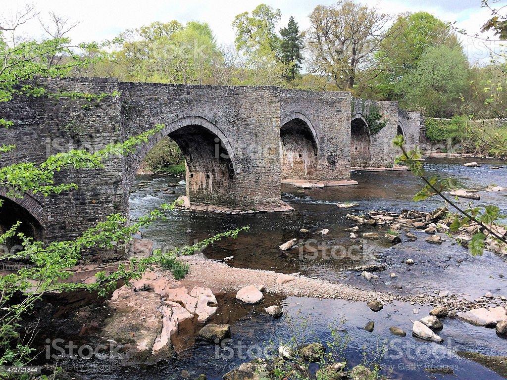 Medieval bridge over the River Usk stock photo