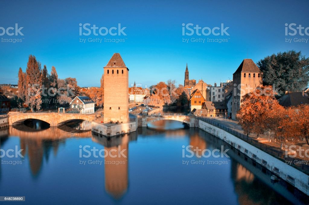 Medieval bridge Ponts Couverts and Cathedral in Strasbourg stock photo
