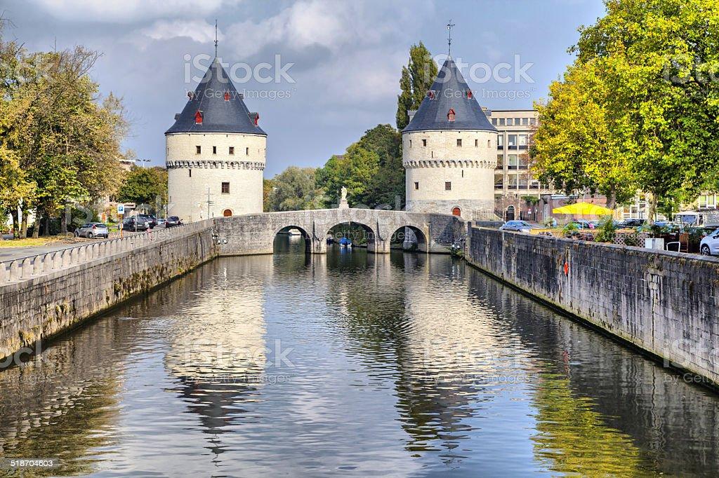 Medieval Broel Towers and old bridge in Kortrijk city stock photo
