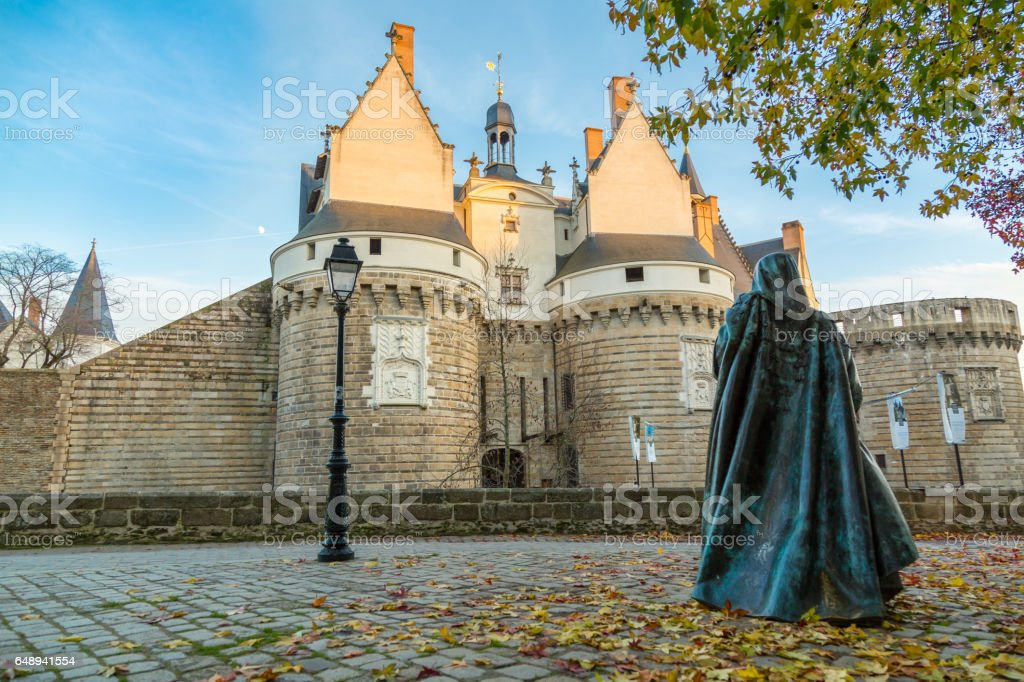 Medieval building in Nantes city, France stock photo