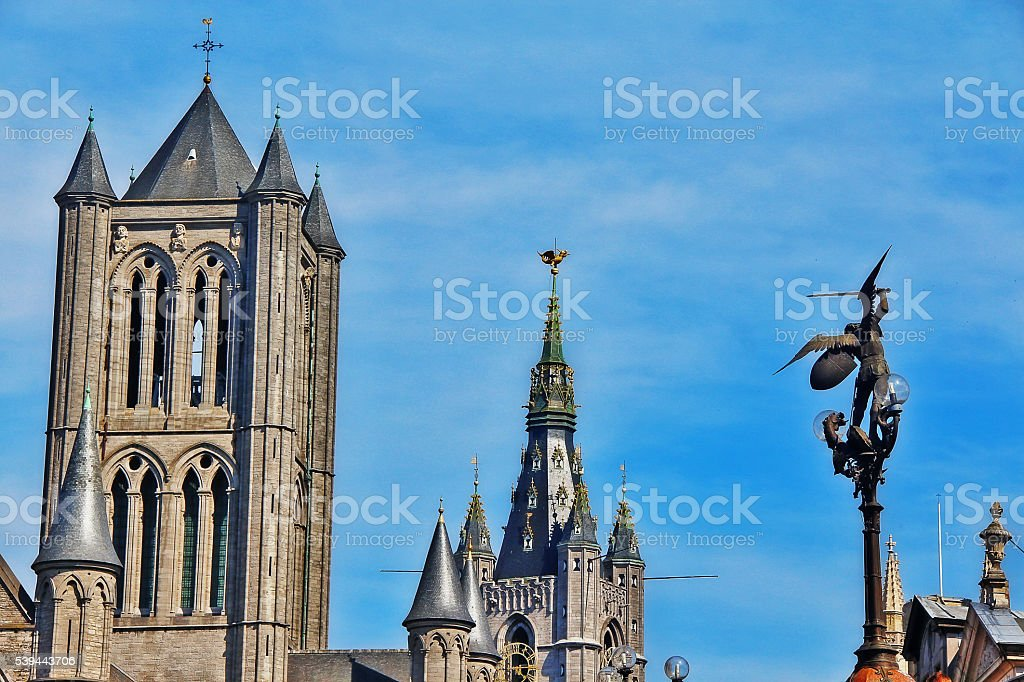 Medieval buildings in Ghent (Gent), Belgium stock photo