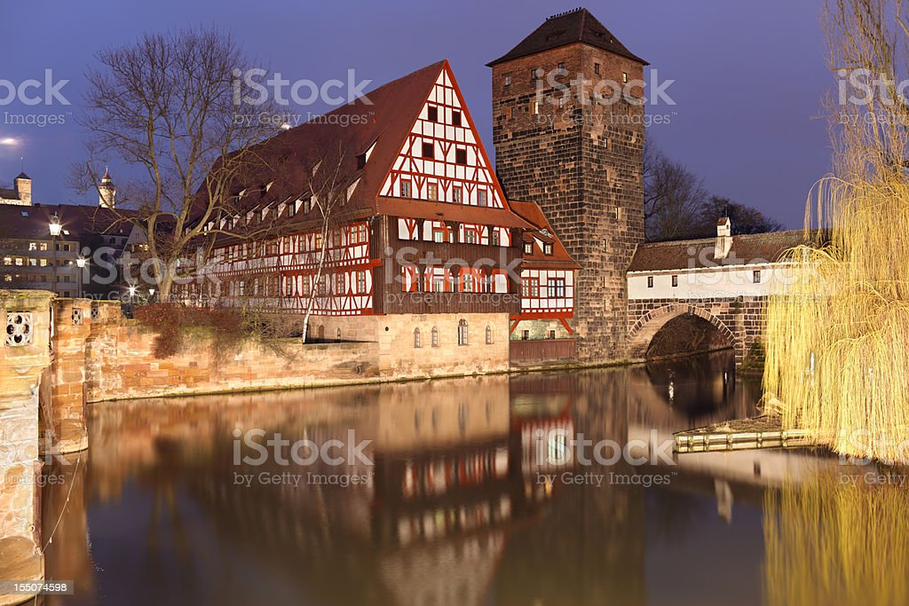 Medieval buildings in Nuremberg stock photo