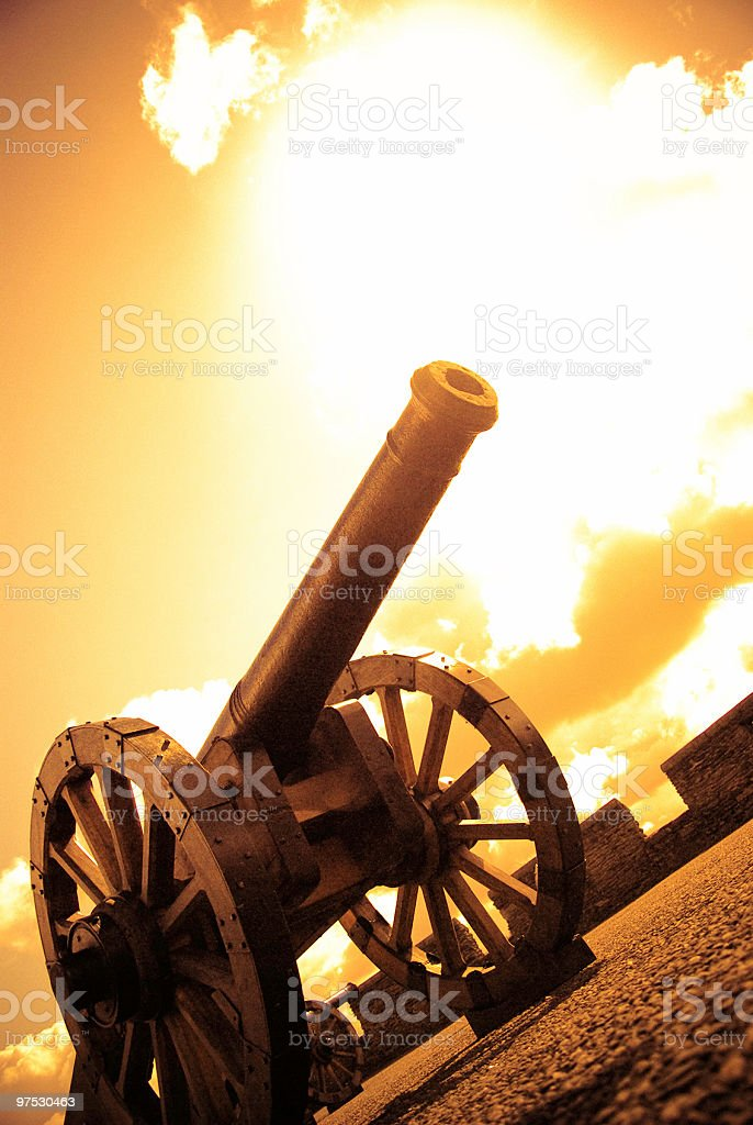 Medieval Cannon in Ireland with sunset colors royalty-free stock photo