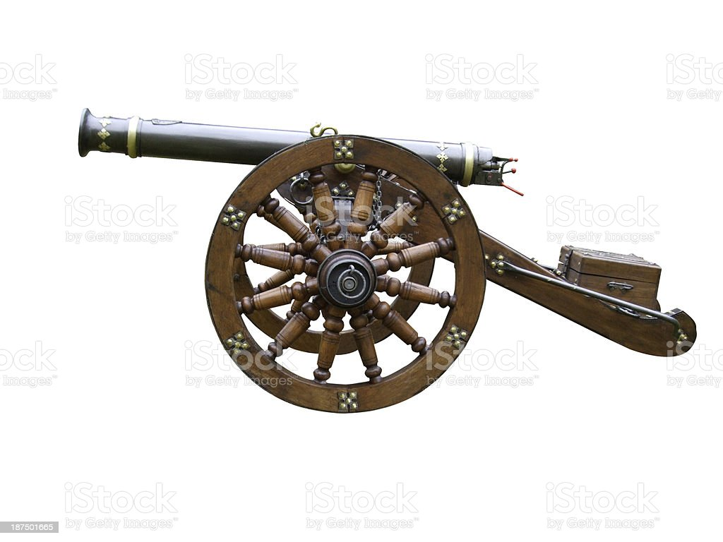 medieval canon isolated on a white background stock photo