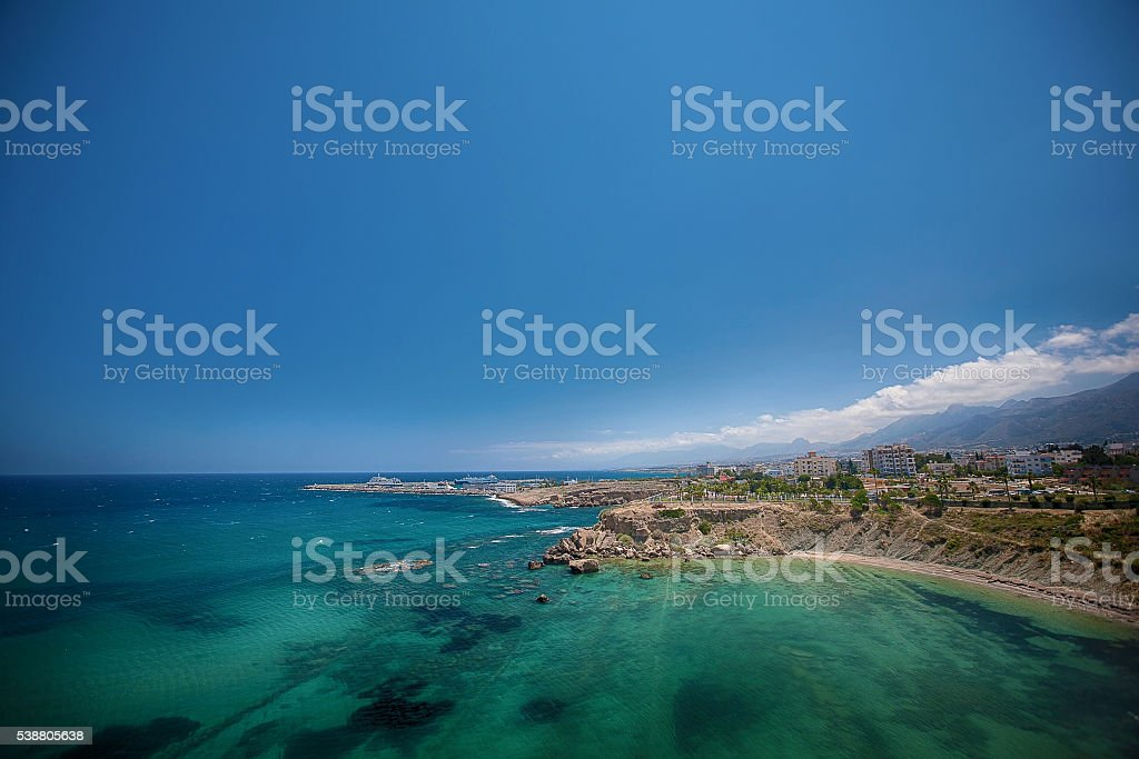 Medieval Castle and old harbor in Kyrenia, Cyprus. stock photo