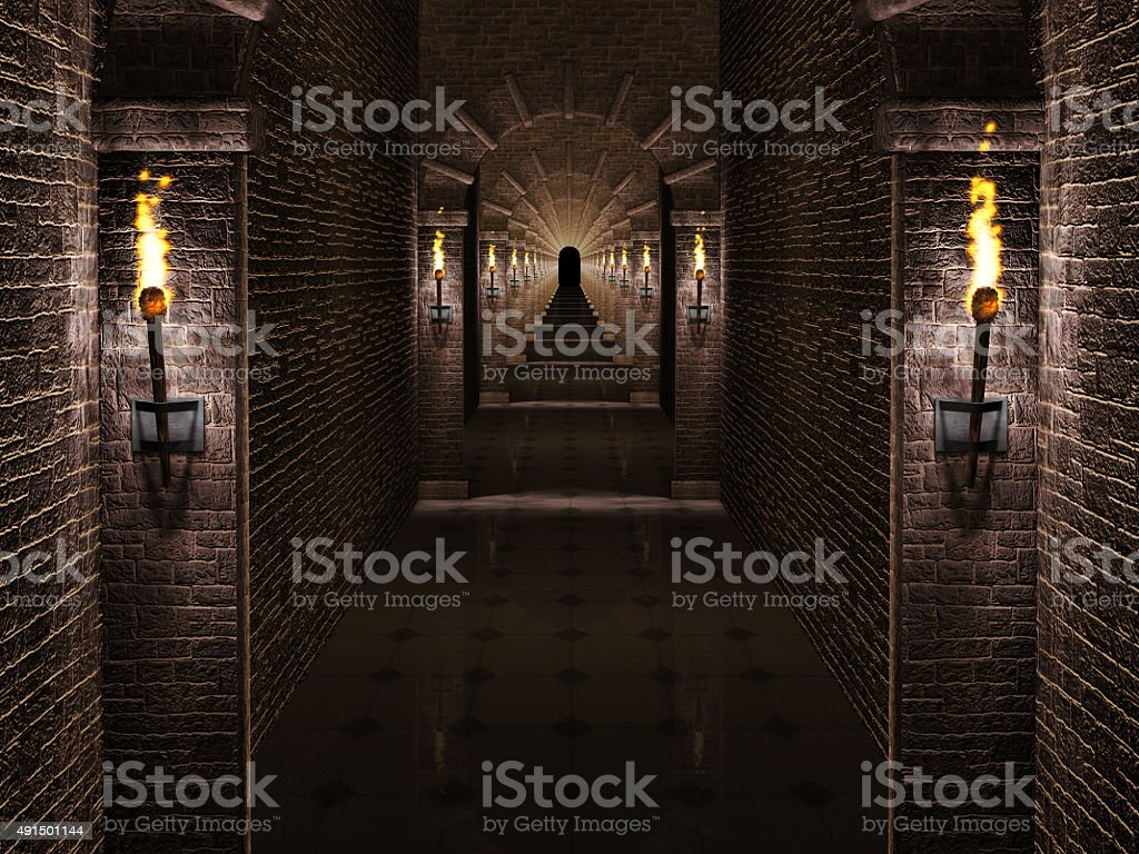 Medieval castle corridor stock photo