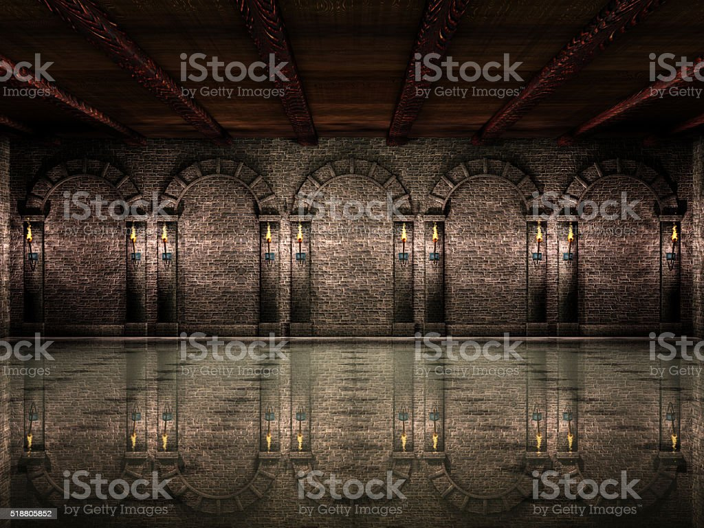 Medieval castle hall stock photo