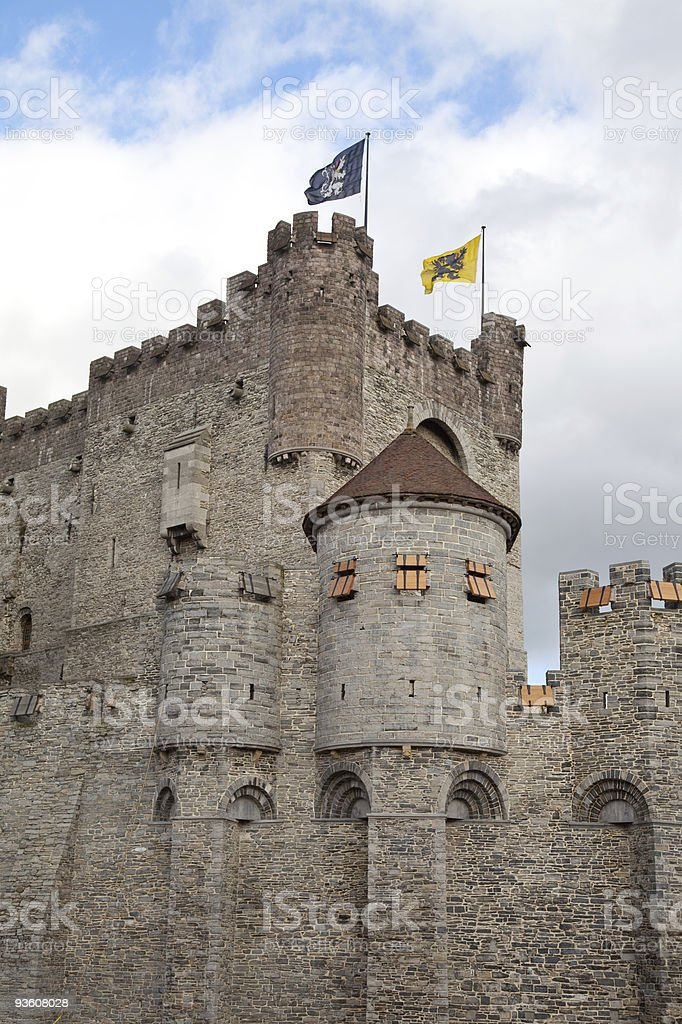 medieval castle in Ghent, Belgium stock photo