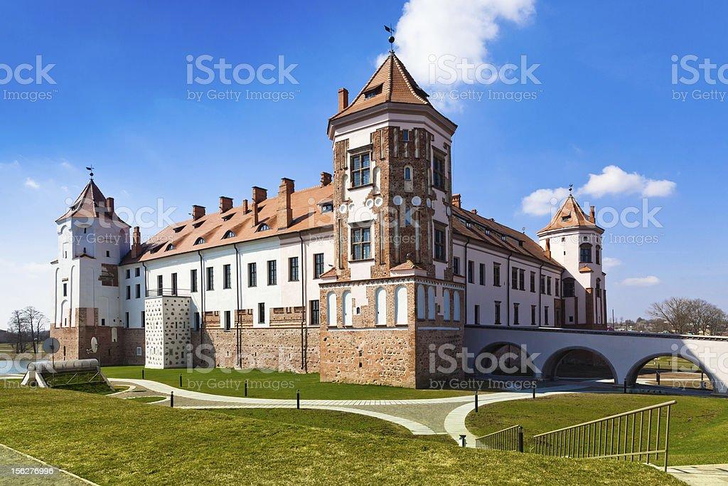 Medieval castle in Mir, Belarus stock photo