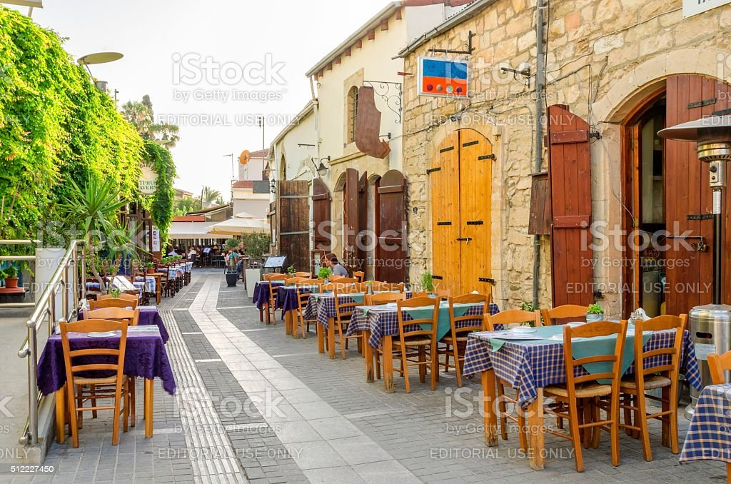 Medieval Castle of Limassol alley, Cyprus stock photo