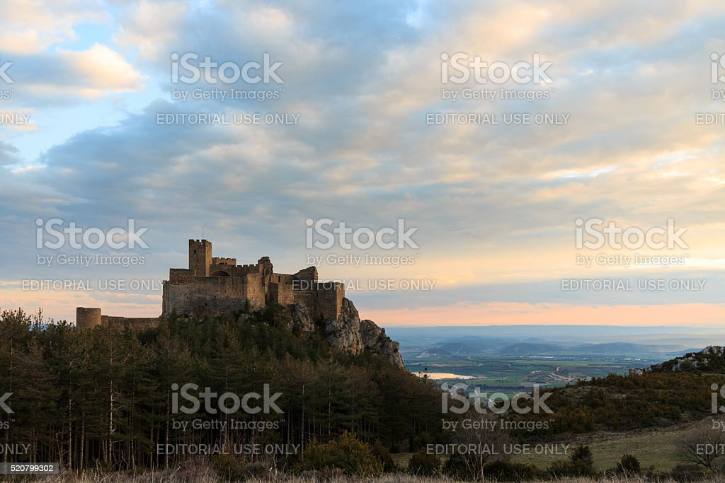 Medieval castle of Loarre at sunset, Aragon, Spain stock photo