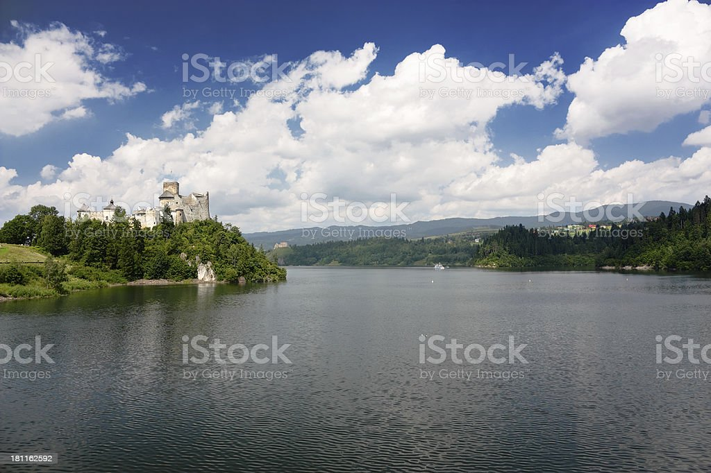Medieval Castle on lake stock photo