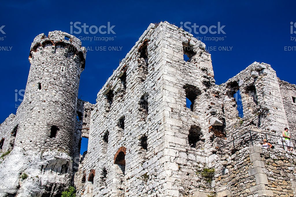 Medieval Castle on rocks, Poland stock photo