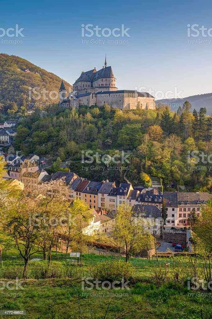 Medieval Castle Vianden, top of the mountain Luxembourg or Letzebuerg stock photo