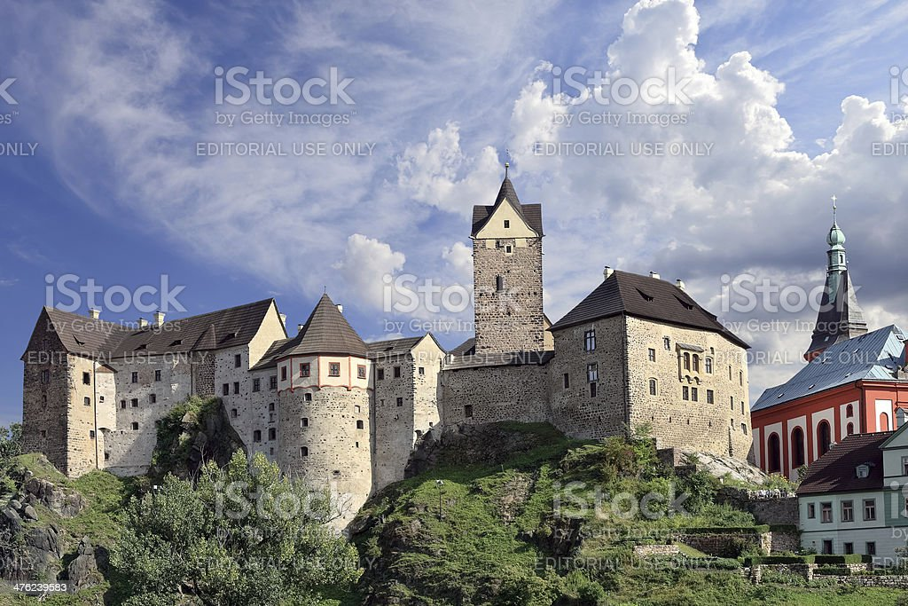 Medieval castle with beautiful sky, Loket - Bohemia - Czech Republic stock photo