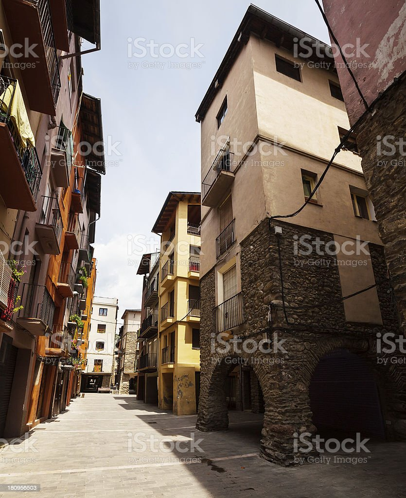 medieval Catalan town in Pyrenees stock photo
